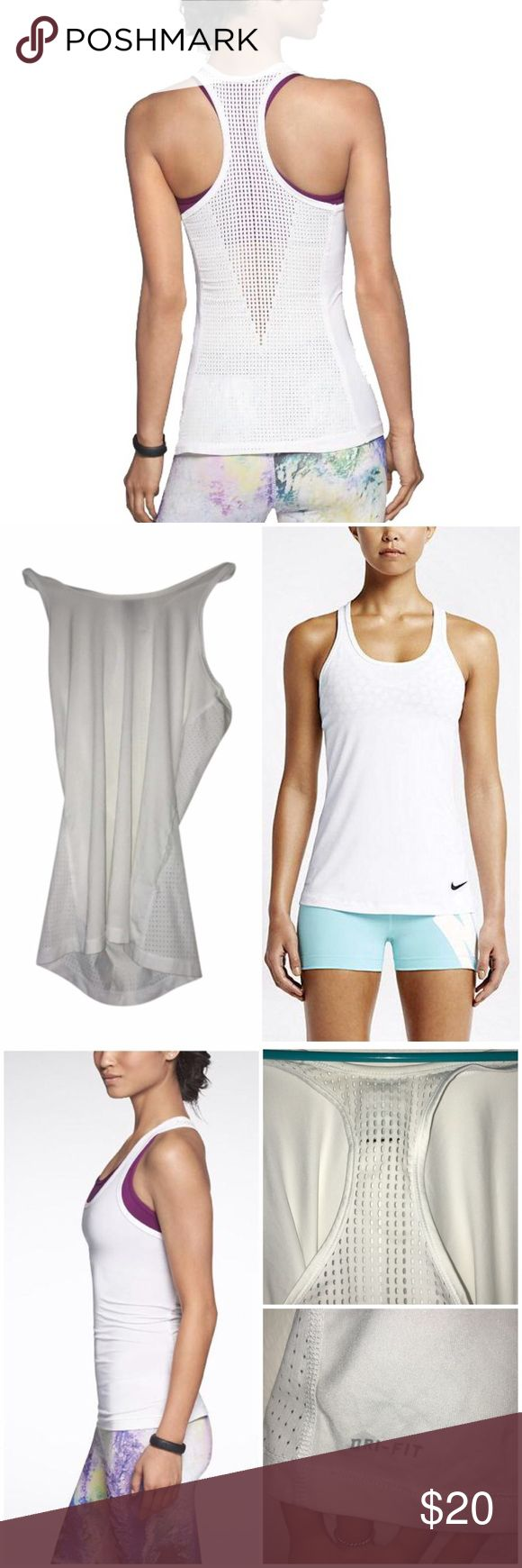 Nike Pro Hypercool Tank Top A mesh back with a perforated V-shaped panel offers increased airflow and breathability as you heat up during a workout. Whether you're out for a run or at sports practice, the Nike Pro Hypercool Tank Top is essential for your active lifestyle. Mesh: Dri-FIT 100% polyester. It'll make you stand out.  Worn once! Minor color fade at neck. Make me an offer!  This Nike Pro Hypercool Tank Top provides you active wardrobe with energetic style. Fabric: Body: Dri-FIT 92%…