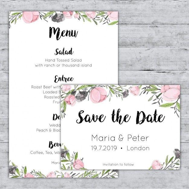 Pastel menu de aquarela rosa e salvar os cartões de data Vetor grátis