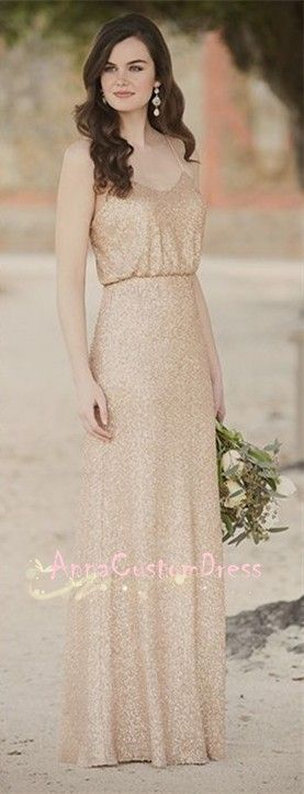 Spaghetti Straps Champagne Gold Sequin Long Bridesmaid Dress