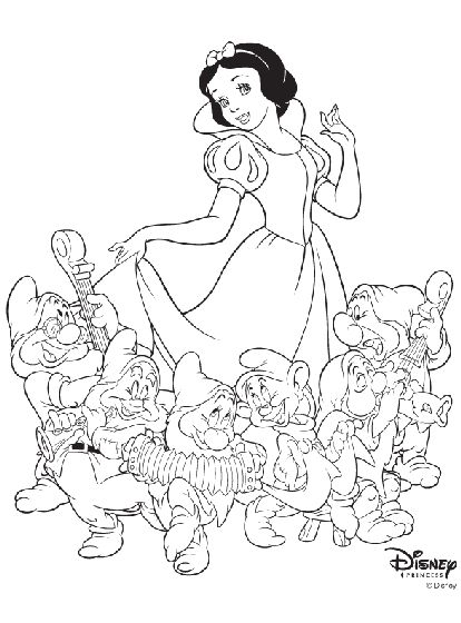 Check out this free printable Snow White and the Seven Dwarfs coloring page!
