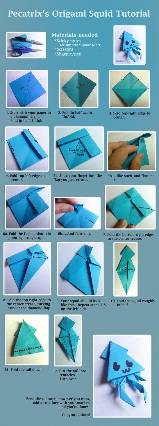 Origami Squid Tutorial by ~pecatrix on deviantART