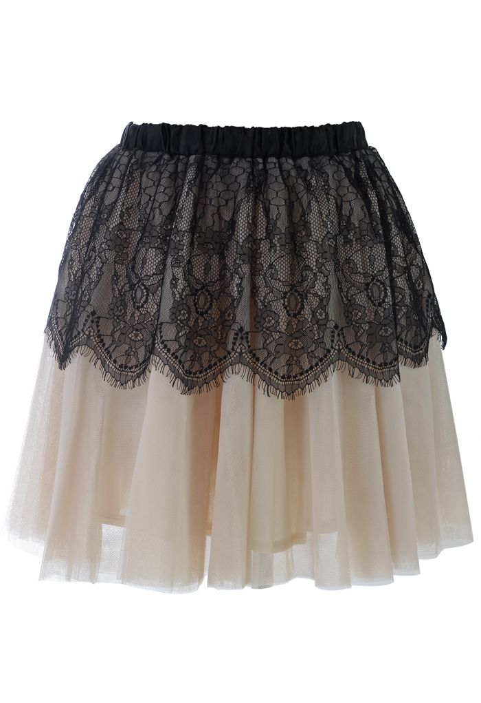 Contrast Black Lace Overlay Tulle Skirt - Skirt - Bottoms - Retro, Indie and Unique Fashion