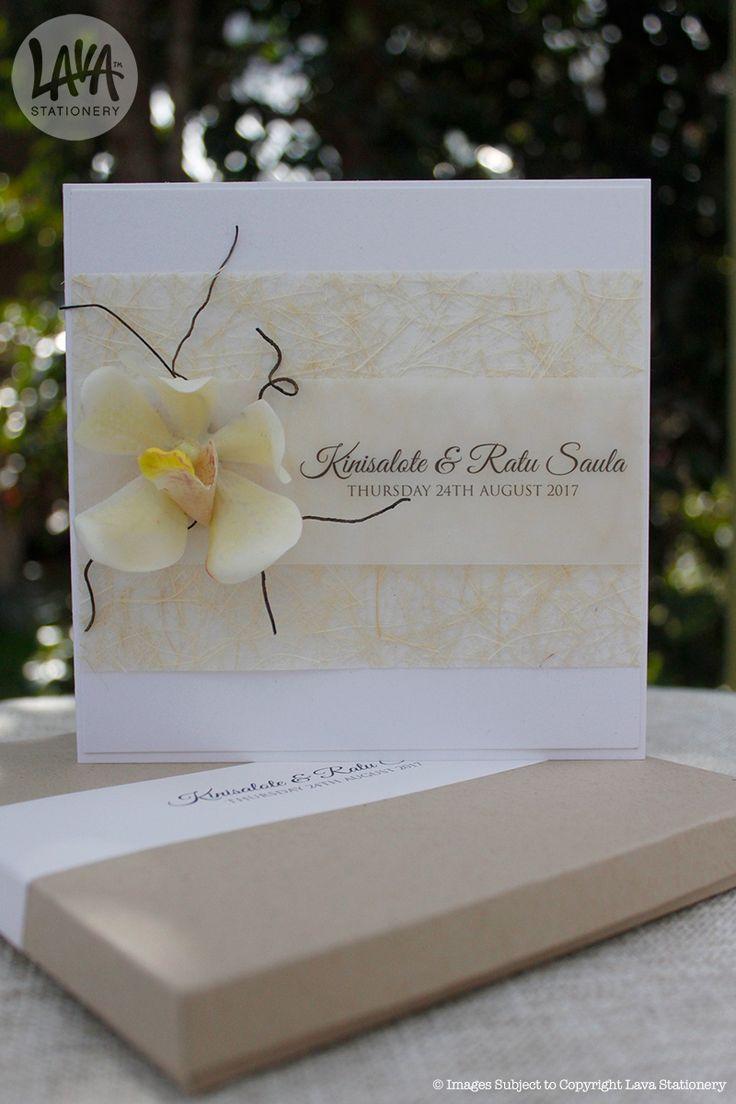 The Tahitian Dream Vanda orchid wedding invitation