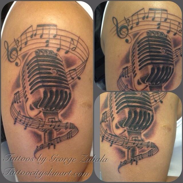 Microphone tattoo by George Zabala at Tattoo City in Lockport, IL