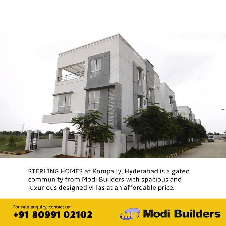 Get Duplex / luxury villas at Gundlapochampally near kompally in Hyderabad from the experts Modi Builders, delivering quality housing at affordable prices.  For more info visit us: http://www.modibuilders.com/current_projects/sterling/
