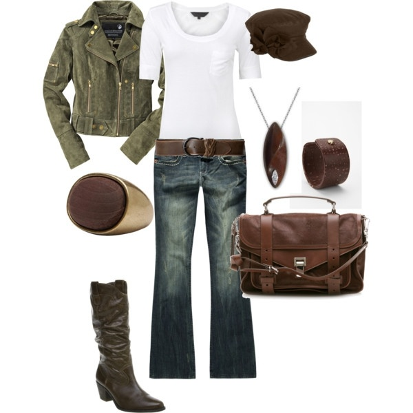 Olive and chocolate brown, with white shirt.