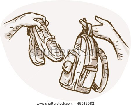 vector hand drawn sketched illustration of Hands Barter trading or swapping shoes and backpack or bag.  #barter #drawing #illustration