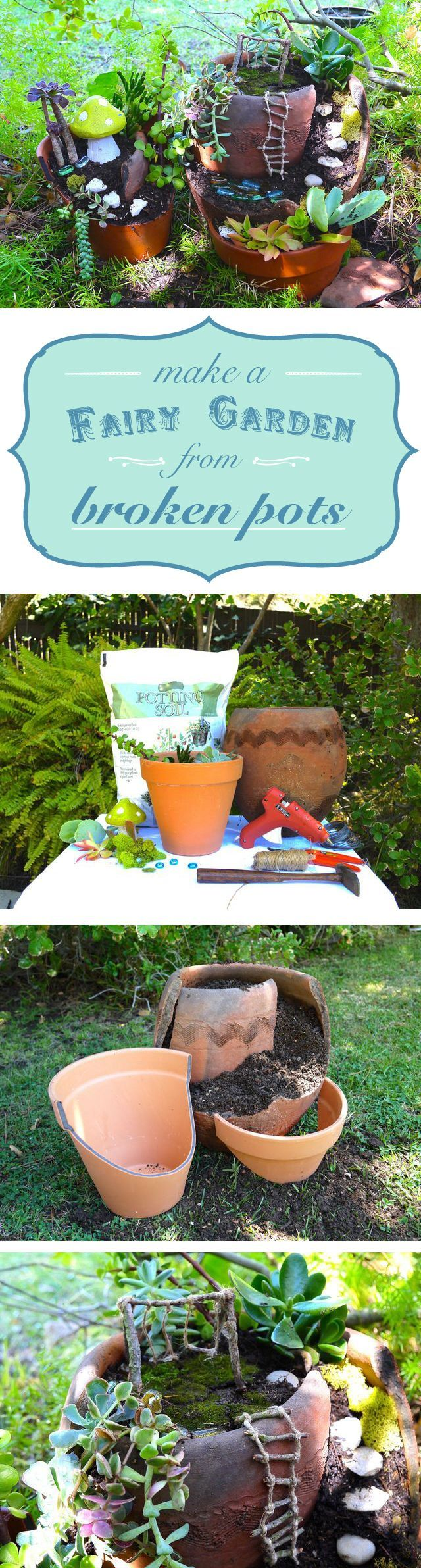 Genius way to use broken pots! Make a fairy garden as decoration and a place for the kids to play and use their imagination. Love it! www.ehow.com/...