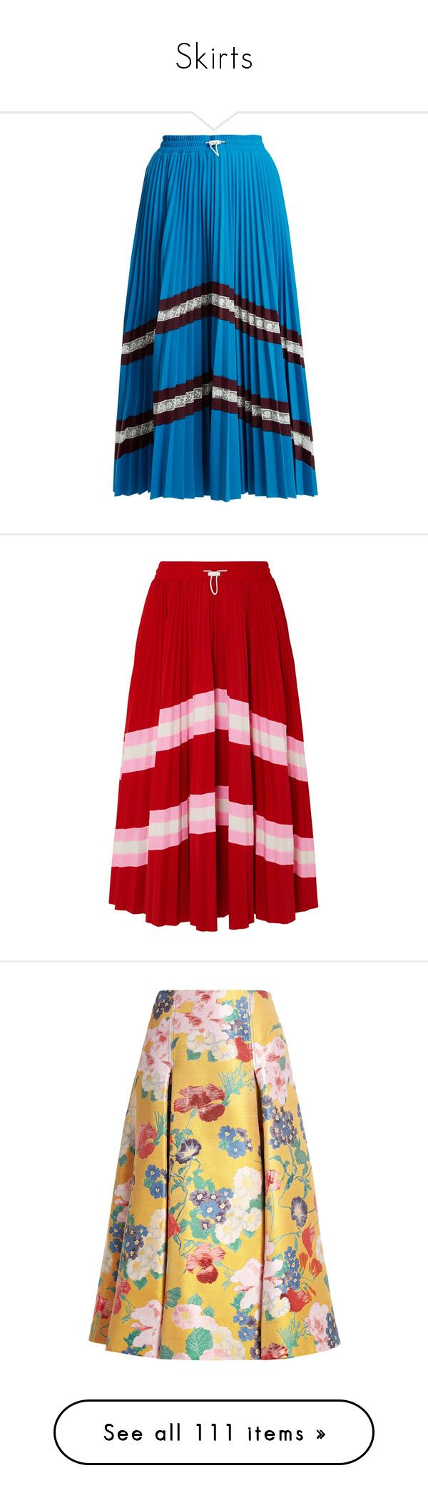 """""""Skirts"""" by janjanzira-1 ❤ liked on Polyvore featuring skirts, blue multi, blue jersey, floral skirt, sport skirts, high-waist skirt, blue high waisted skirt, red, mid-calf skirts and pleated skirt"""