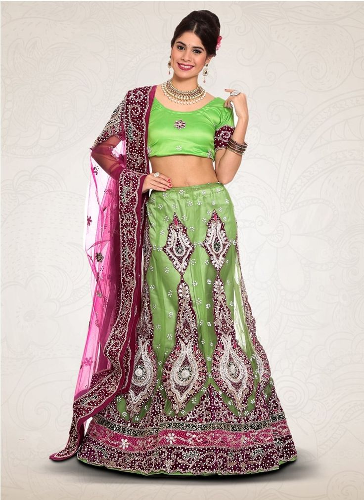 Green Net Bridal Lehenga Choli #Lehenga #LehengaCholi #Weddingdress #Bridalwear #BridalLehengaCholi #OnlineLehengaShopping