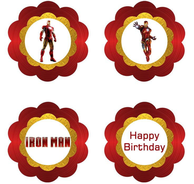 Iron Man Cupcake Toppers - FREE PDF Download
