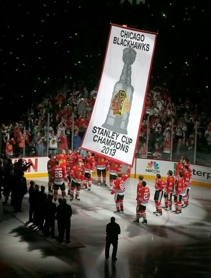Raising the banner. Stanley Cup Champions 2013 Chicago Blackhawks