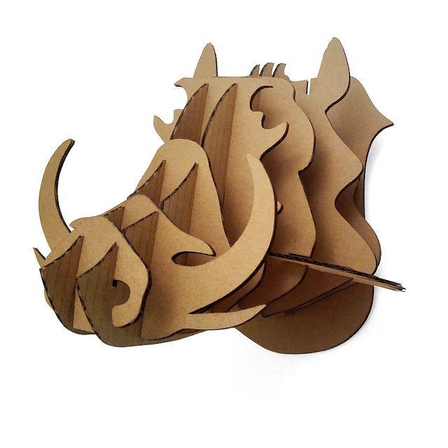 3d Rompecabezas De Cartón Animales Cerdos Salvajes Cabeza de Montaje En Pared de DIY artesanía Arte Decoración de La Pared Cabeza de Jabalí Colgando de Halloween Decoración regalo