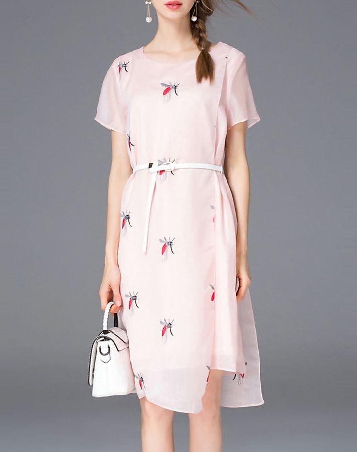 #AdoreWe Tetelee Trendy Pink Embroidered Short Sleeve Midi Dress with Belt - AdoreWe.com