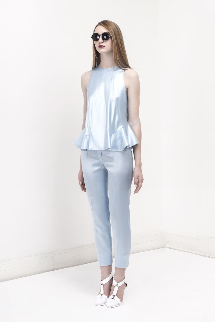 Light Blue Satin top and pants