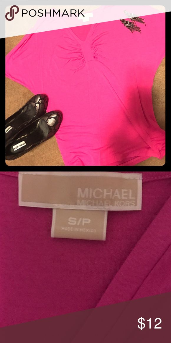 Flowy Pink Michael Kors Top Super cute pink top by Michael Kors!! Batwing sleeve style. Good condition but definite signs of wash wear - material pilled in some areas - see picture 3. MICHAEL Michael Kors Tops
