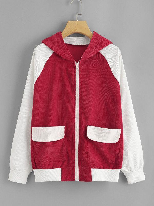 138baa1a41 Colorblock Raglan Sleeve Zip Up Hoodie -SheIn(Sheinside) - Available in  various colors and styles. Custom t-shirts, hoodies, funny tees, custom  sweatshirts, ...