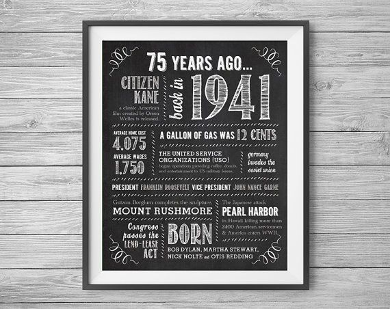 75th #Birthday Printable 8x10 and 16x20 Party Sign Digital Download by #NviteCP