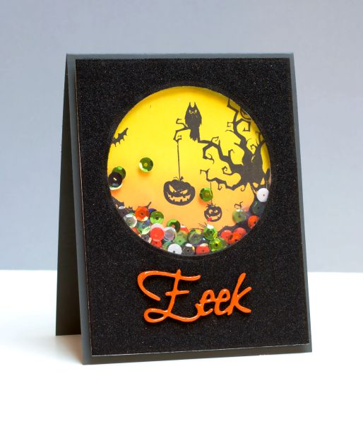 Halloween Shaker by jeanmanis - Cards and Paper Crafts at Splitcoaststampers  (Pin#1: Shakers.  Pin+: Halloween: Bats, Birds, Owls)