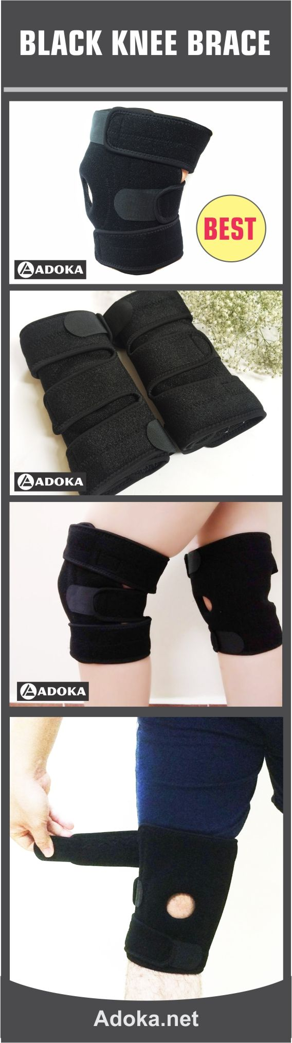 Knee Support, Black knee brace support, Sports Knee Brace, Knee Brace Sleeve, Knee Brace for women and Men