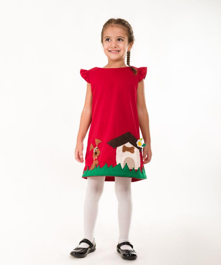 Handmade felt applique dress,girls dress,children clothing,winter to spring dresses,handmade clothing for little girls