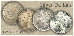 Go to...  Silver Dollar Values for Bust, Seated Liberty and Peace Silver Dollars