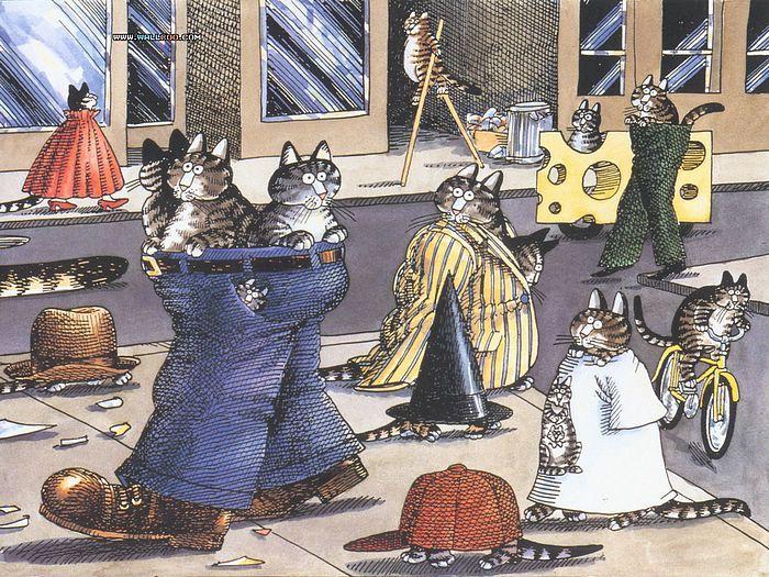 B Kliban Cats Art Postcard Kitty Kitties Wearing Pants Walking Down The Street