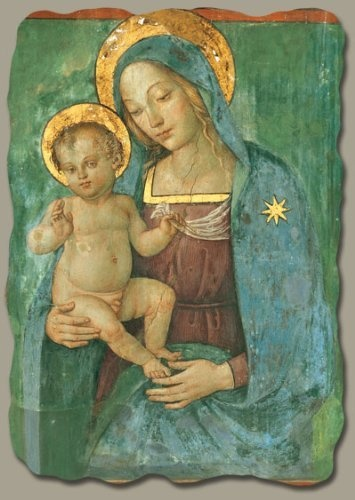 Madonna with Child by Pinturicchio, Italian-Made Fresco Reproduction on Plaster, 4 ¼ inches x 5 ½ inches x 3/8 inches by Bottega Artigiana, http://www.amazon.com/dp/B0068N713M/ref=cm_sw_r_pi_dp_hwnRrb0DTKZX7