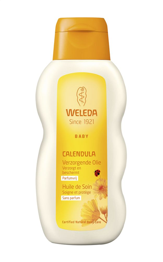 De verzorgende Calendula-olie van Weleda kan je gebruiken bij de dagelijkste huidverzorging van je baby. Vlak na het avondbadje masseer je je baby met deze olie en omhul je zijn huid zo met een beschermend warmtelaagje.