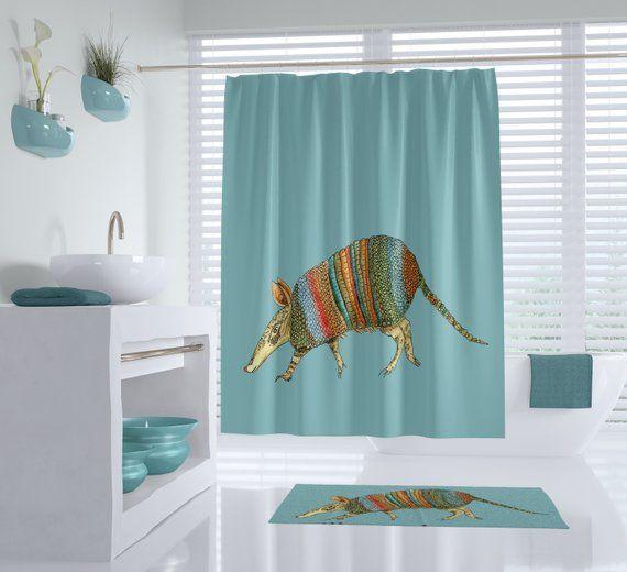 Armadillo Shower Curtain Southwestern Dusty Blue Terracotta