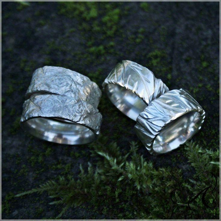 Rustika FREJ och BLAD,  handgjorda silverringar från Alv Design! Design och arbete av konstnär och silverdesigner:  Anneli & Kenneth Lindström, Alv Design. Välkommen att se mer i vår webbutik www.alvdesign.se