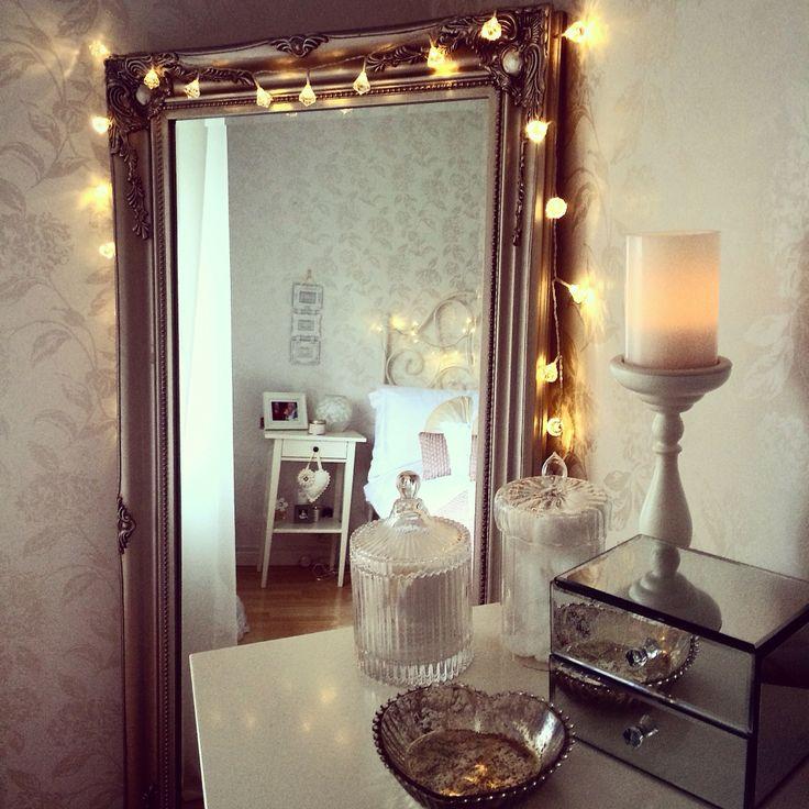 My room being cute  #lauraashley #fairylights #bedroom