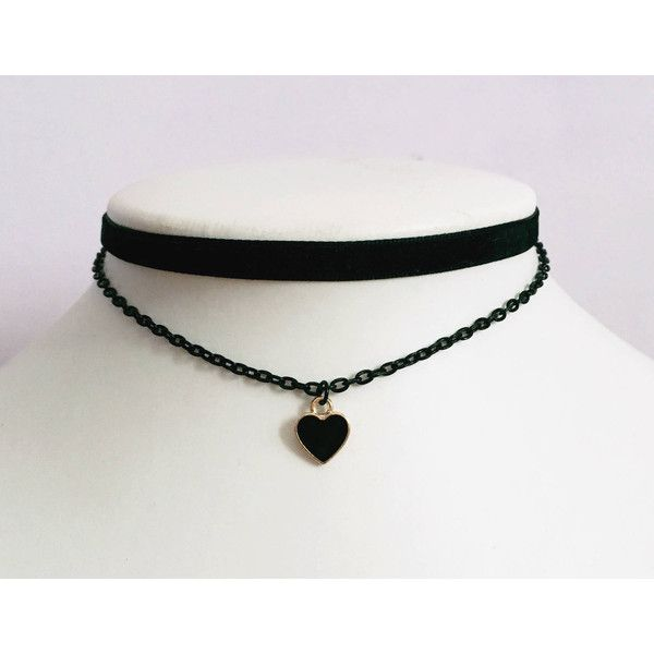 Grunge Choker Gothic Choker Black Heart Chain Velvet Black Emo... ($10) ❤ liked on Polyvore featuring jewelry, necklaces, velvet choker necklace, gothic chokers, collar necklaces, gothic choker necklace and heart necklaces