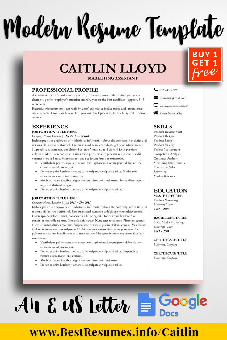 Modern Resume Design Template For Google Docs 2 Page And Cv