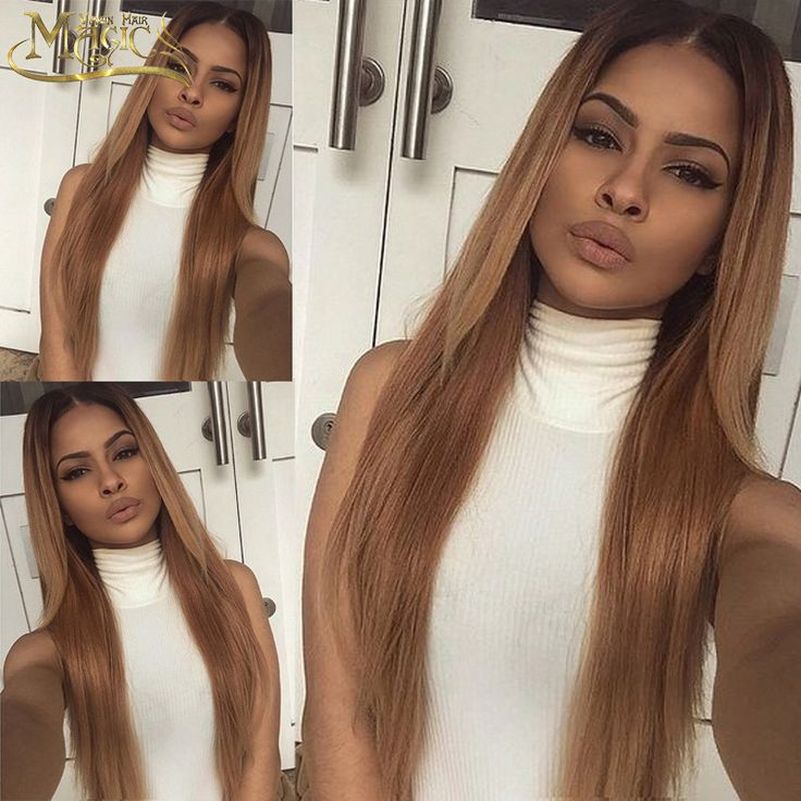 Glueless Lace Front Wigs Brazilian Human Hair Two Tone Ombre Full Lace Wigs For Black Women Rooted 30# Straight Hair Wig