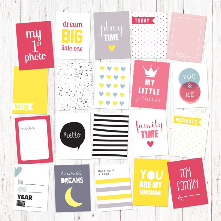 "Scrapbook and journal cards for newborn baby girls. 20 cute cards for instant download. Size 3X4"". Vol 2. by GraphicCorner on Etsy"