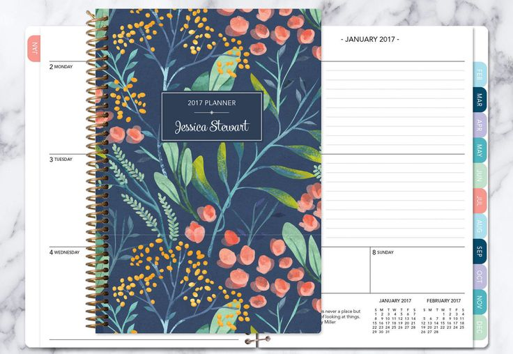 2017 planner | 2017-2018 calendar | weekly student planner add monthly tabs | personalized planner agenda daytimer | navy watercolor floral by posypaper on Etsy https://www.etsy.com/ca/listing/491928693/2017-planner-2017-2018-calendar-weekly