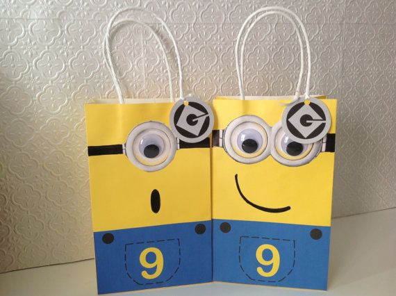 Despicable Me Minions Birthday Party Yellow Minion Treat Handle Goody Bags on Etsy, $20.00