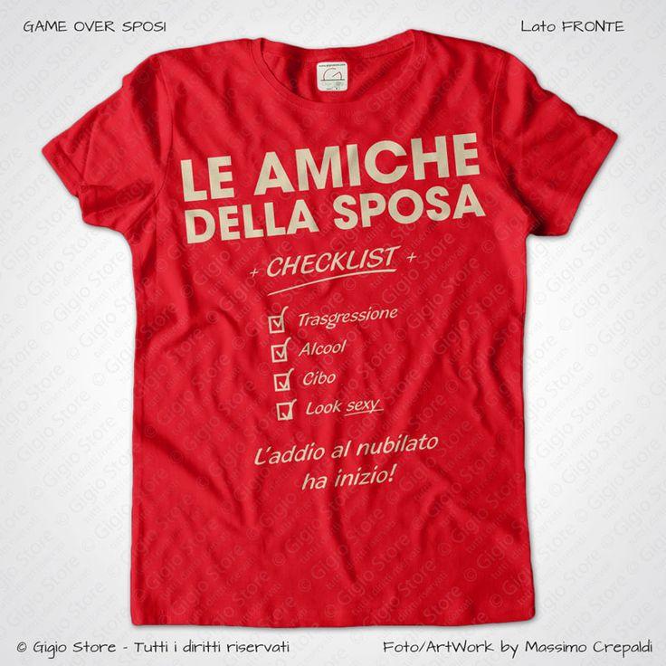 Magliette Addio al Nubilato Amiche della Sposa T-Shirt colore Rosso Stampa Personalizzata Crema Taglia XS, S, M, L, XL, XXL