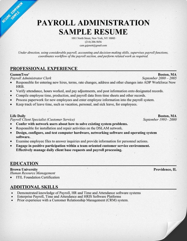 free payroll administration resume help