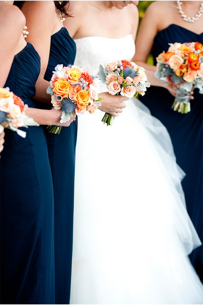 Love these bouquets and the navy dresses with the white for Navy dress for fall wedding