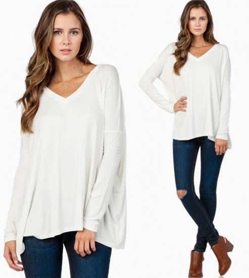 Bamboo Piko White Long Sleeve Soft Tee Shirt Loose Slouch V Neck Chic Cozy NWT #365CHIC #BasicTee
