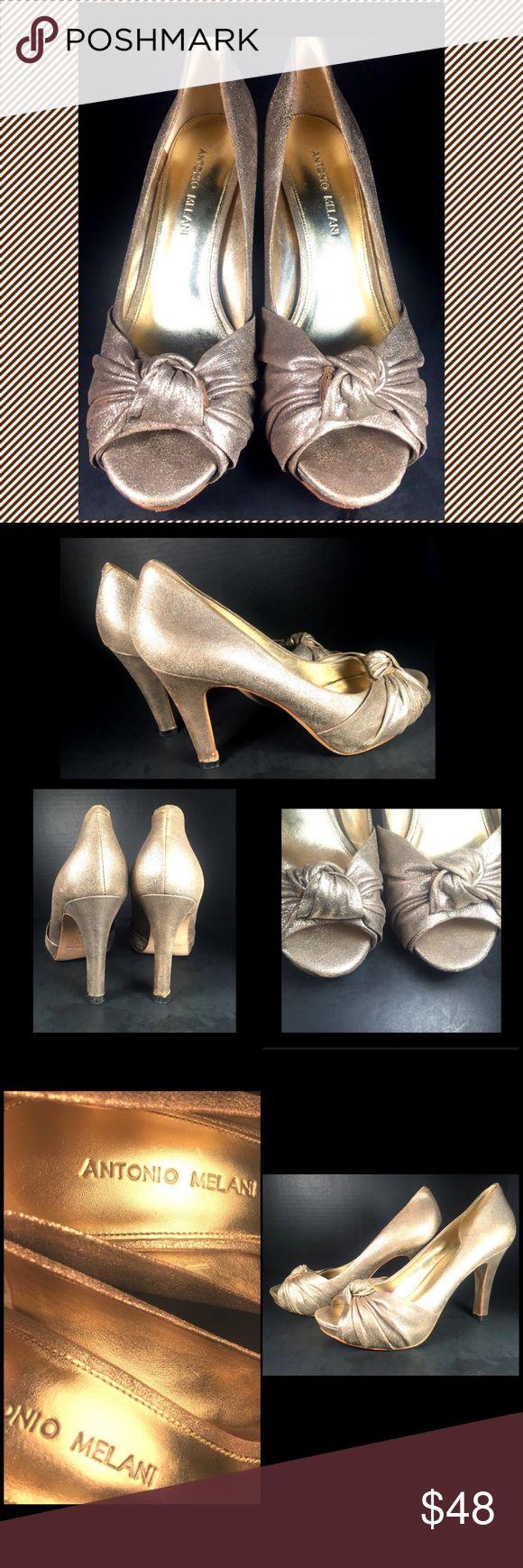 ANTONIO MELANI Gold Peep Toe Heels ANTONIO MELANI Gold Peep Toe Heels. Ladies Size 8.5M.  Light Wear and Marks.  Minor wear on Sole and Heel. Still Good Condition Shoes in super cute Melani style! Orig. $98.00. ANTONIO MELANI Shoes Heels