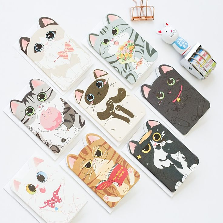8 pcs/set Creative little kittens card Birthday/holiday Valentine's day greeting heart design message card wedding Gift cards