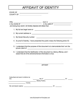 This free, printable affidavit serves to identify a person for employment and legal purposes. Free to download and print