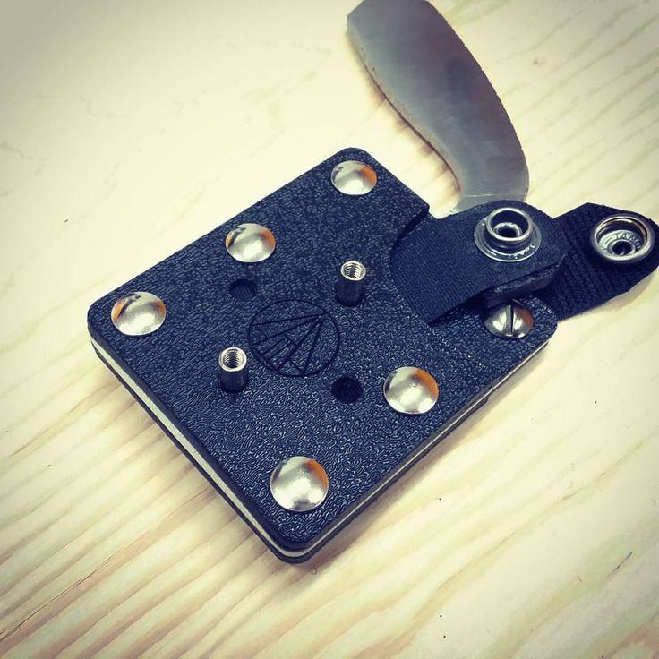 Another shot of a preproduction prototype of the #pkt44 #PKiloTango44 custom knife sheath.  Made on our #fullspectrumlaser #knife #everydaycarry #knifestagram #productdesign #prototype #laser #lasercutting