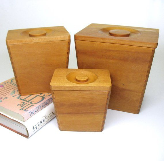 Wooden Canister Set Nesting Wood Cannisters Japan Mid Century Modern Dovetailed Corners Rectangular 1950s Moder Canister Sets Vintage Housewares Wooden