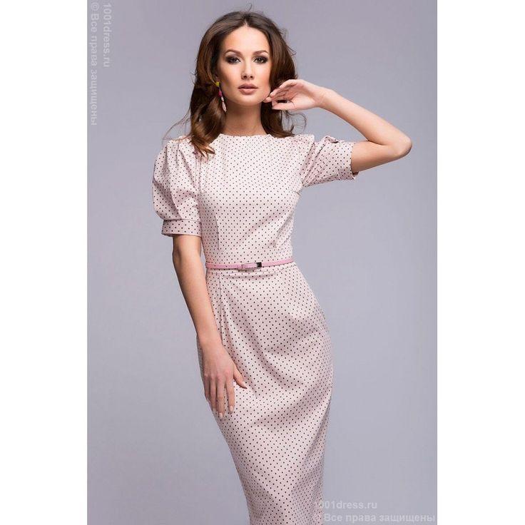 Платье нежно-розового цвета в мелкий горошек с короткими рукавами