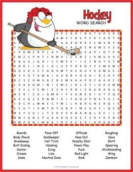 Ice Hockey Word Search Word Search Puzzles Hockey