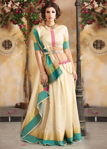 Cream Tussar Silk Stripe Patterned Saree - H1306 | Indian Silk House Agencies 10
